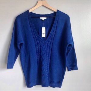 NWT Dolman Oversized Royal Blue Cable Knit Sweater